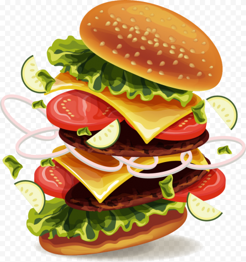 HD Cartoon Open Double Cheeseburger Floating Flying PNG Image