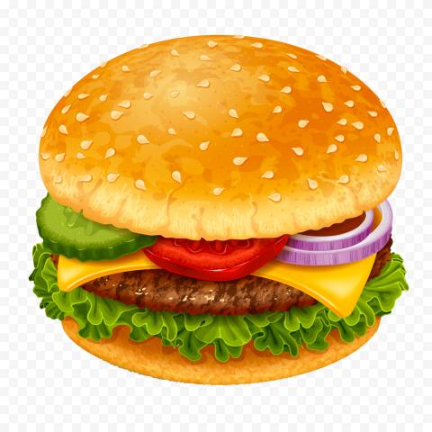 HD Cheeseburger Illustration Cartoon PNG Image