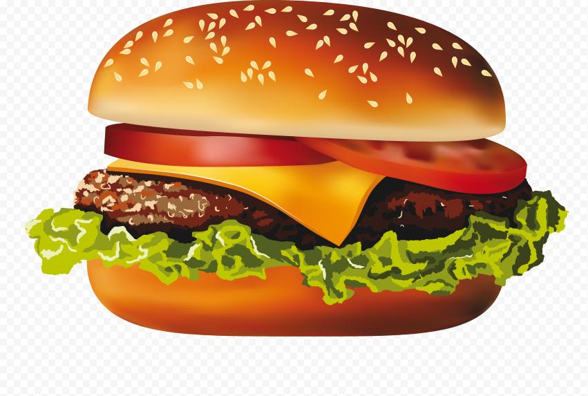 HD Cheese Burger Illustration Cartoon PNG Image