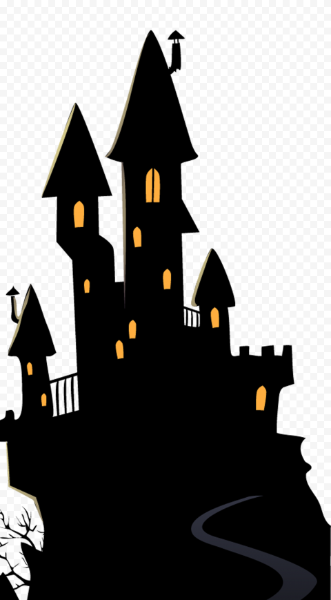 HD Halloween Black Clipart Castle Silhouette PNG