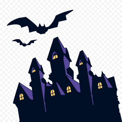 HD Halloween Castle & Flying Bats Silhouettes Clipart PNG
