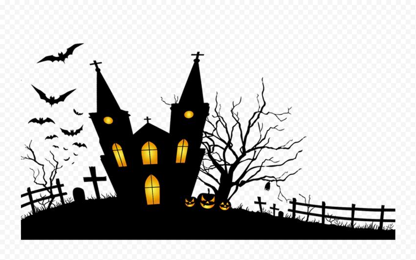HD Black Halloween House & Pumpkins Silhouettes PNG