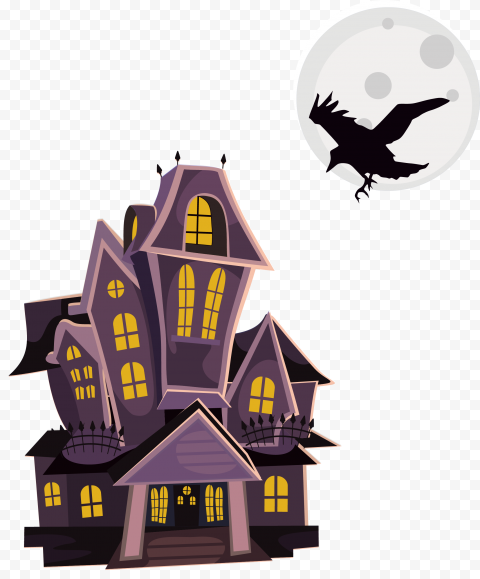 HD Halloween Cartoon Haunted House With Flying Crow PNG