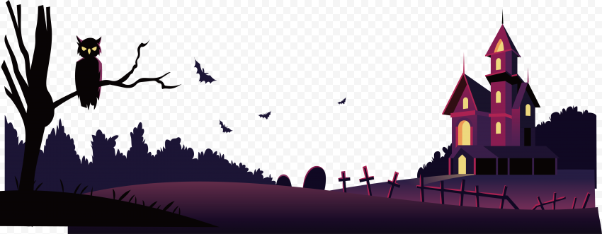 HD Halloween Cartoon Horror House With Owl On Tree Branch PNG