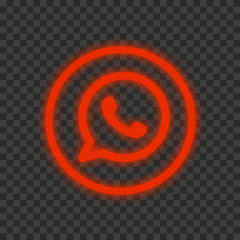 HD Red Neon Outline Whatsapp Wa Round Circle Logo Icon PNG