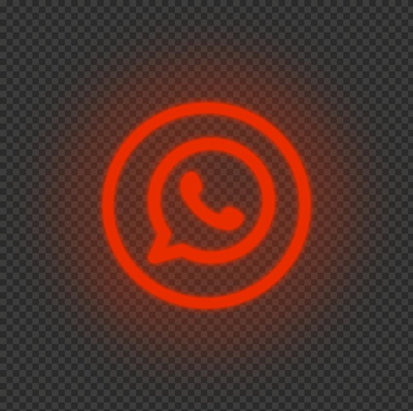 HD Red Neon Light Whatsapp Wa Round Circle Logo Icon PNG