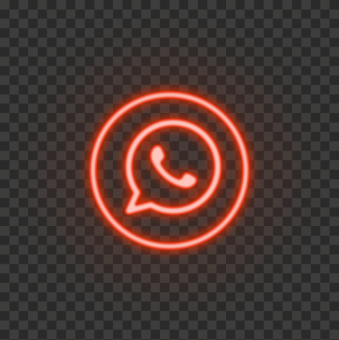 HD Red Neon Light Whatsapp Round Circle Logo Icon PNG