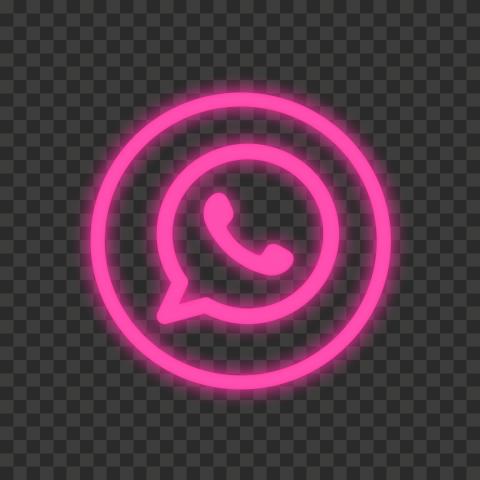 HD Pink Neon Outline Whatsapp Wa Round Circle Logo Icon PNG