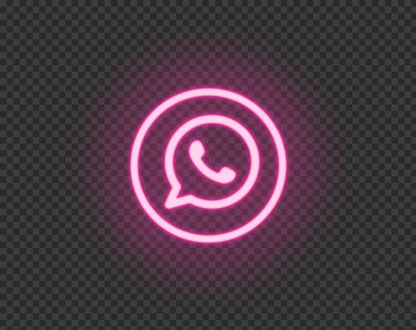 HD Pink Neon Light Whatsapp Wa Round Circle Logo Icon PNG