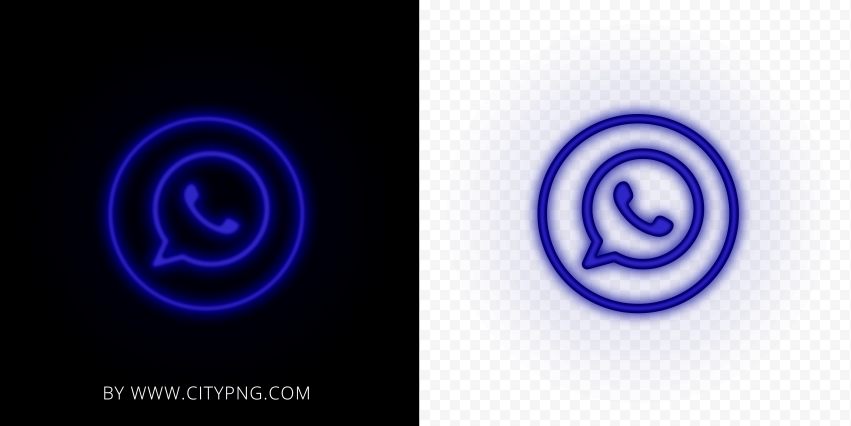 HD Dark Blue Neon Light Whatsapp Round Circle Logo Icon PNG