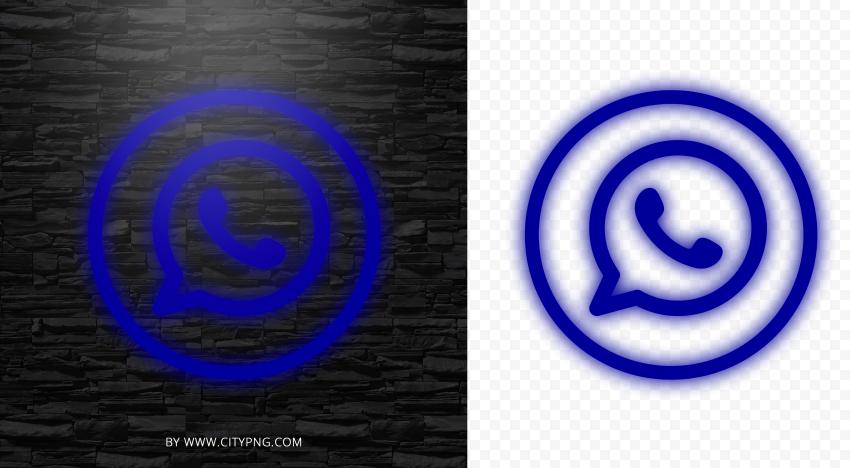 HD Dark Blue Neon Outline Whatsapp Wa Round Circle Logo Icon PNG