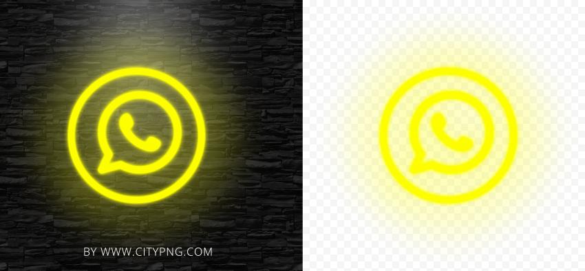 HD Yellow Neon Light Whatsapp Wa Round Circle Logo Icon PNG