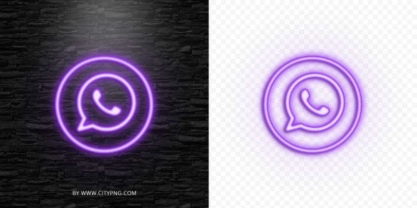 HD Purple Neon Light Whatsapp Round Circle Logo Icon PNG
