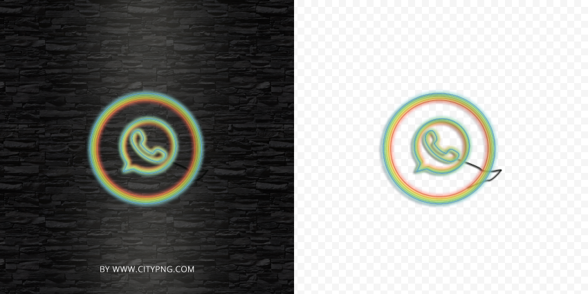 HD Whatsapp Line Art Rainbow Neon Logo Icon PNG