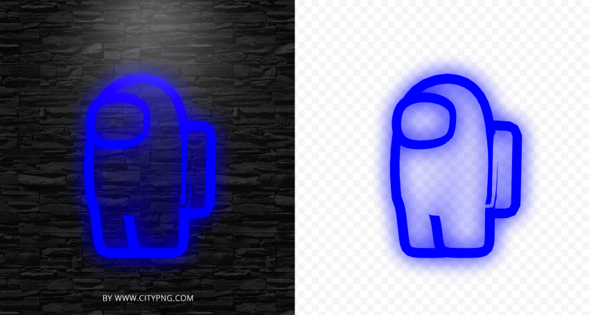 Hd Blue Neon Among Us Game Character Png Citypng