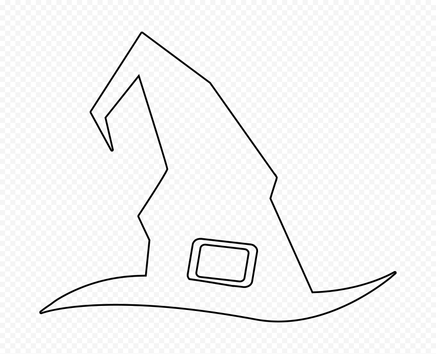 HD Outline Black Witch Hat Halloween Clipart PNG