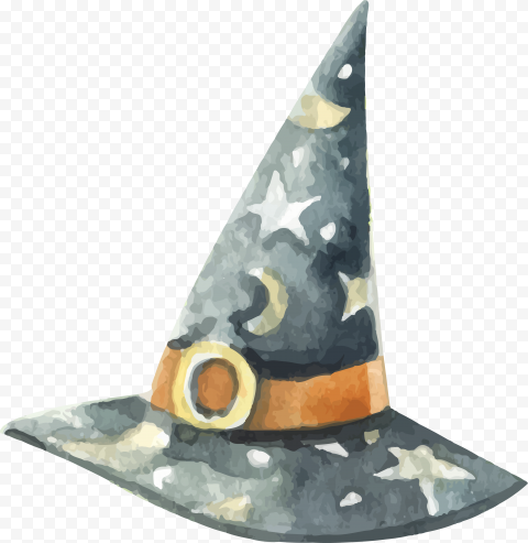 HD Watercolor Witch Hat Clipart Halloween PNG