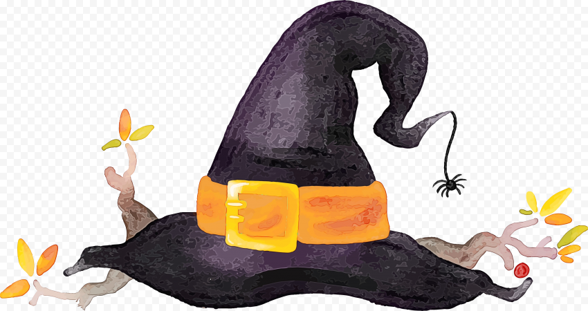 HD Black & Yellow Watercolor Witch Hat Clipart Halloween PNG