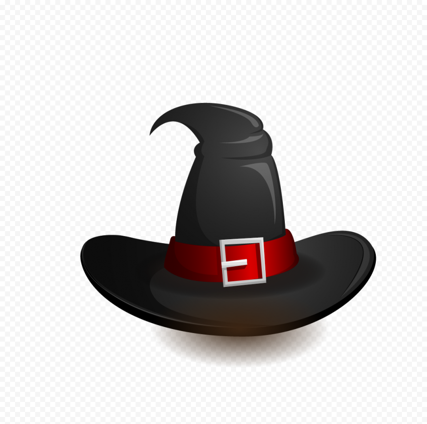 HD Halloween Witch Hat Black & Red Clipart Cartoon PNG