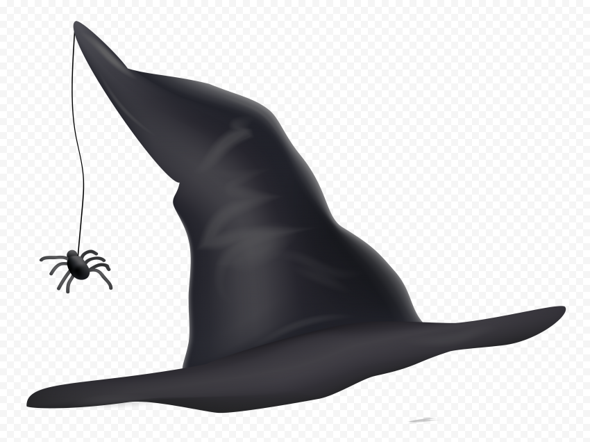 HD Black Halloween Witch Hat With Spider Clipart Illustration PNG