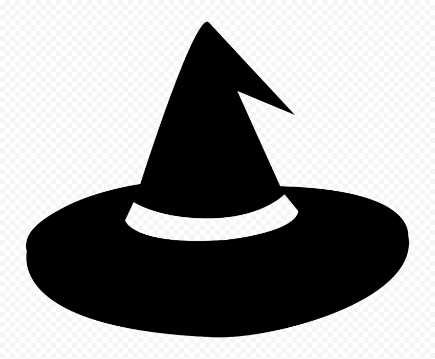 HD Black Halloween Witch Hat Silhouette PNG