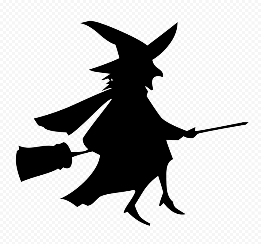 HD Black Witch Silhouette Flying On A Broom PNG