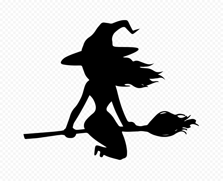 HD Black Witch Silhouette Clipart Flying On A Broom PNG