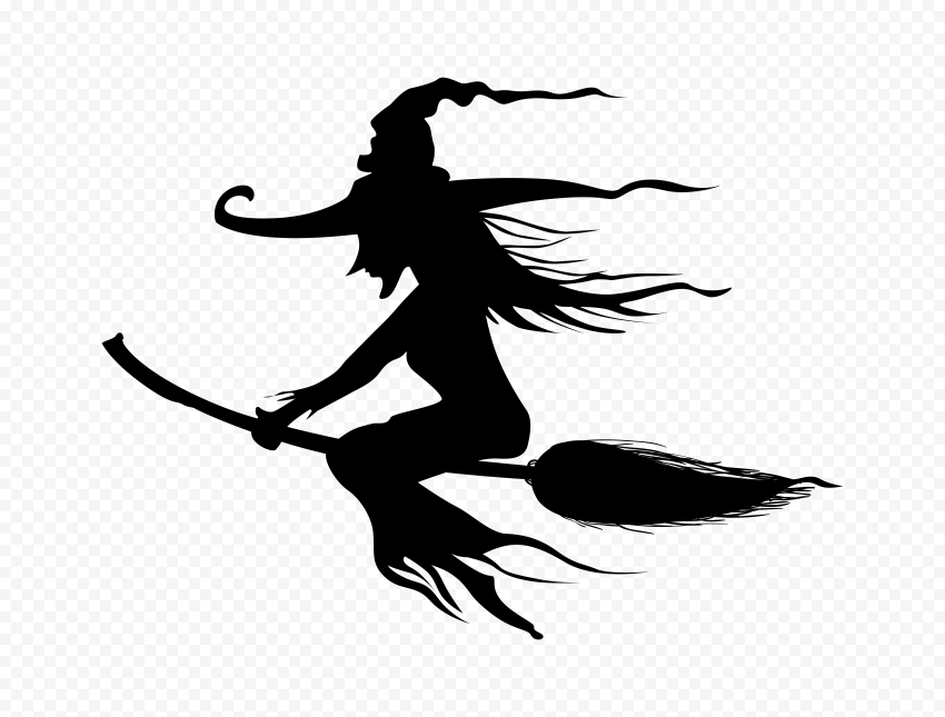 HD Halloween Witch Silhouette Flying On A Broom PNG