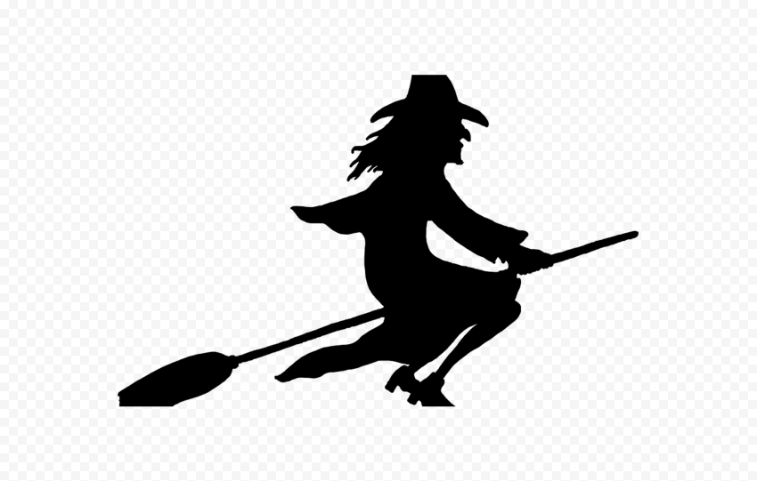 HD Halloween Witch Flying On A Broom Silhouette PNG