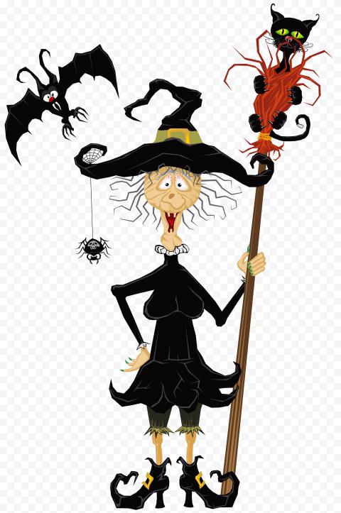 HD Halloween Witch Broom Black Cat Bat Clipart Cartoon PNG