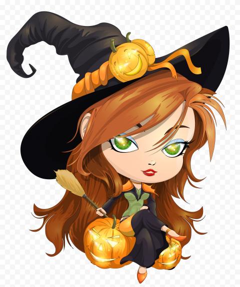 HD Beautiful Halloween Witch Cartoon Illustration PNG