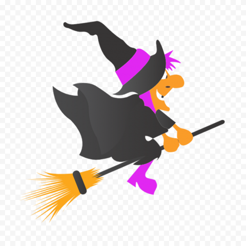 HD Flat Halloween Witch Flying On A Broom Clipart PNG