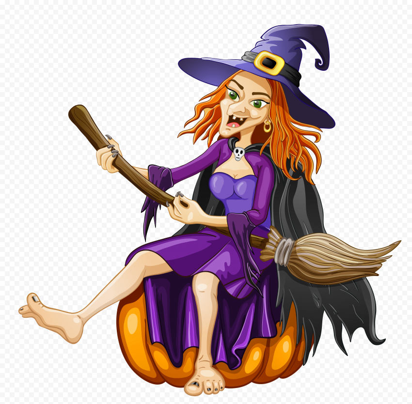 HD Halloween Spooky Witch Face Hold Broom Cartoon PNG