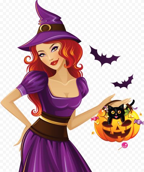 HD Beautiful Halloween Witch Pumpkin Bats Cartoon PNG