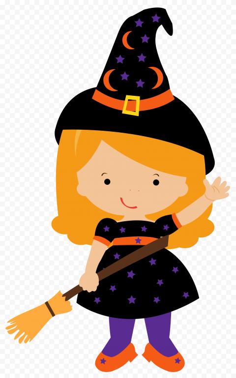 HD Beautiful Halloween Chibi Witch Clipart Cartoon PNG
