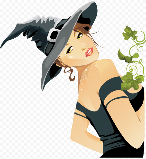 HD Beautiful Cute Halloween Witch Illustration Cartoon PNG