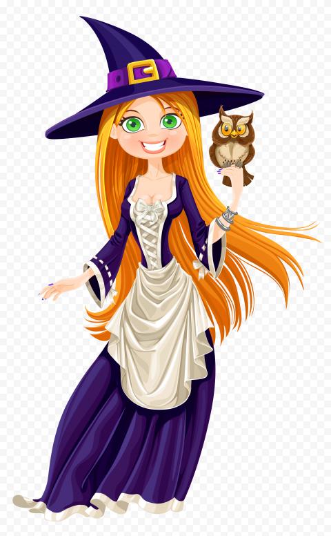 HD Cartoon Beautiful Cute Halloween Witch Illustration PNG
