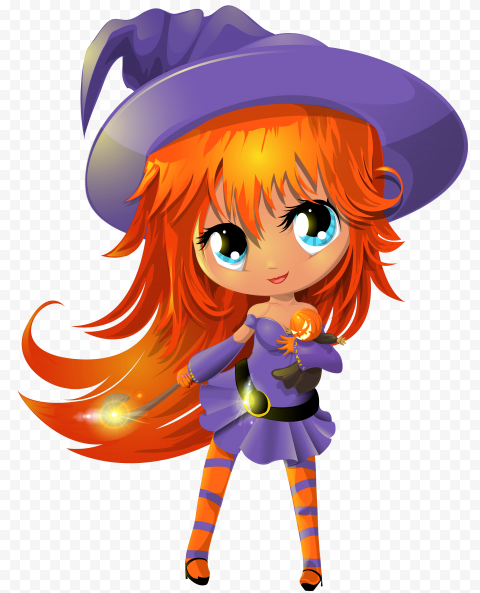 HD Cartoon Beautiful Halloween Chibi Witch Illustration PNG