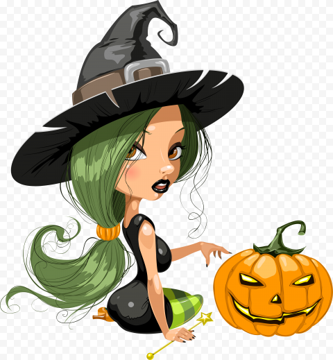 HD Cartoon Halloween Witch Sitting With Pumpkin Illustration PNG