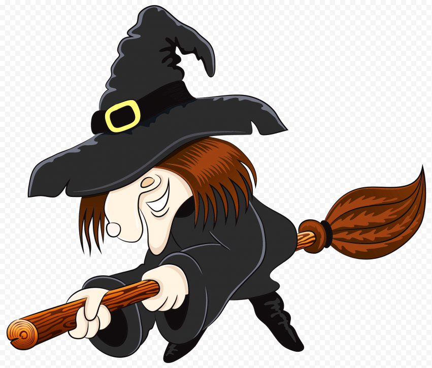 HD Cartoon Halloween Witch Flying Sitting On Broom Clipart PNG