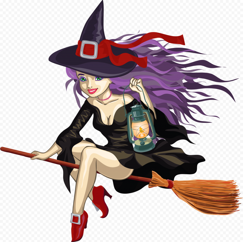 HD Beautiful Cartoon Halloween Witch Sitting On A Broom PNG