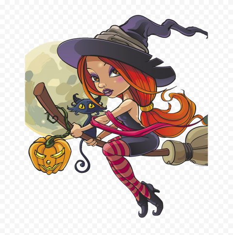 HD Cartoon Halloween Witch Flying On A Broom With Black Cat PNG