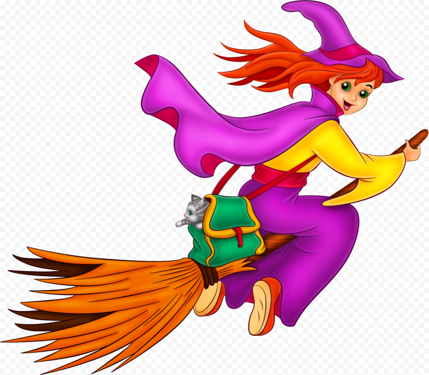 HD Cartoon Witch Flying On A Broom Wear Pink Clothes PNG