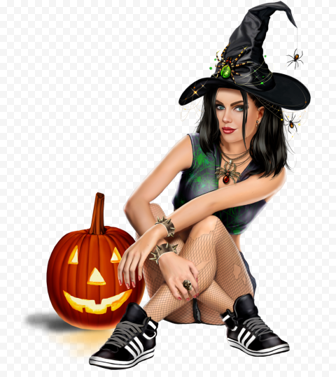 HD Beautiful Cartoon Girl Wear Witch Costume Sitting With Pumpkin PNG