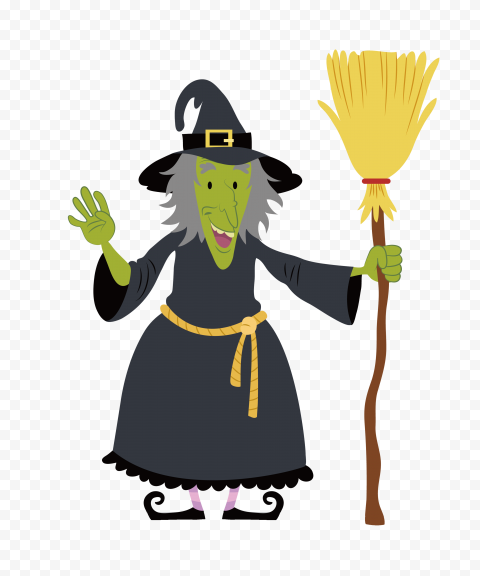 HD Old Cartoon Witch Hold A Broom PNG