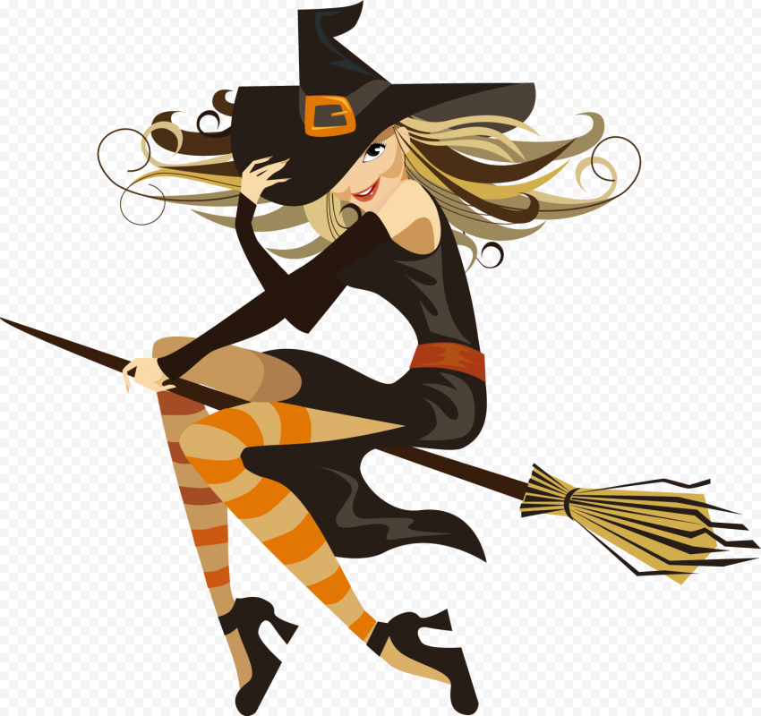HD Cute Beautiful Cartoon Vector Witch Flying On A Broom PNG