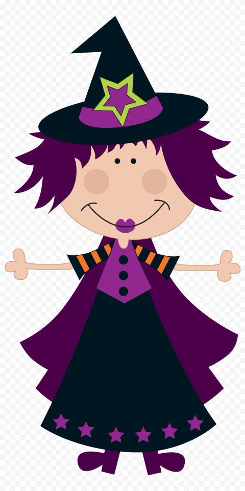 HD Cute Cartoon Clipart Witch Wear Purple Clothes PNG