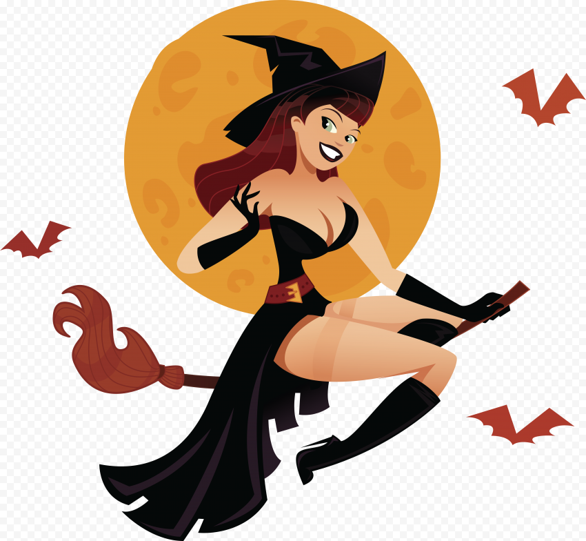 HD Witch Flying On A Broom Full Moon Behind With Bats Clipart PNG