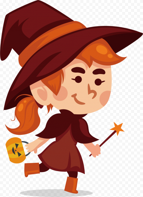 HD Halloween Witch Character Cartoon Clipart PNG