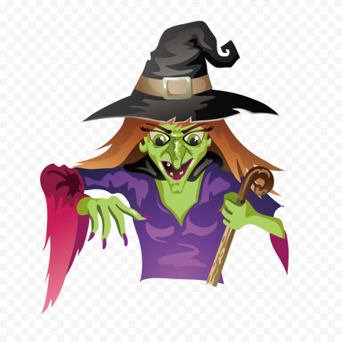 HD Halloween Green Wicked Witch Character Cartoon Clipart PNG